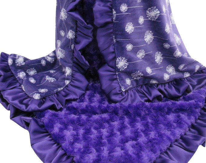 Purple Dandelion Rose Swirl Minky Baby Blanket, In Stock Ready to Ship 155
