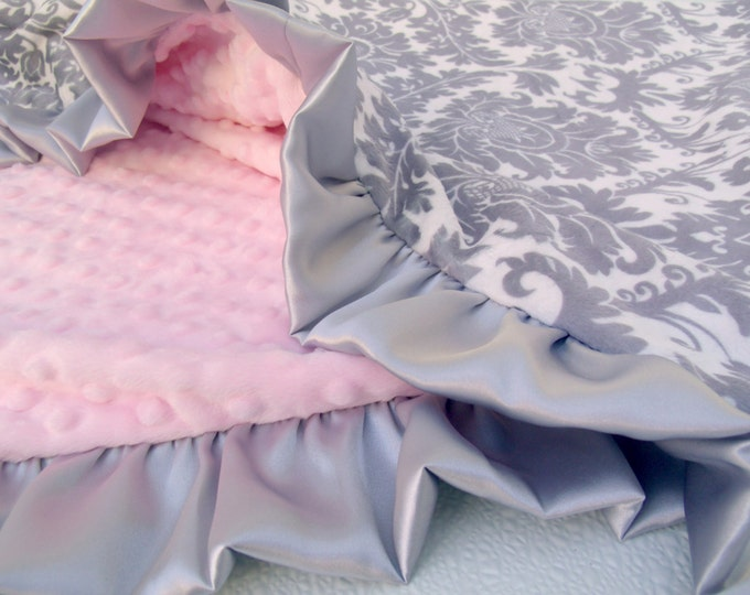 Pink and Gray Damask Minky Blanket,  Pink and Gray Minky Baby Blanket, Baby Girl Blanket