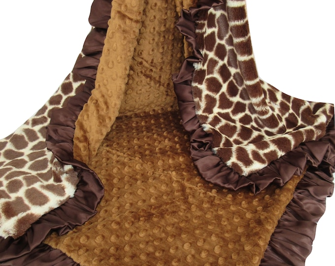 Boy or Girl Giraffe Print Minky Baby Blanket, Jungle Theme Baby Blanket