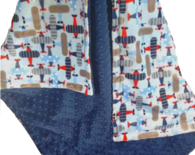 Airplanes Navy, Red and Gray Minky Dot Blanket, Navy and Gray Minky Baby Blanket