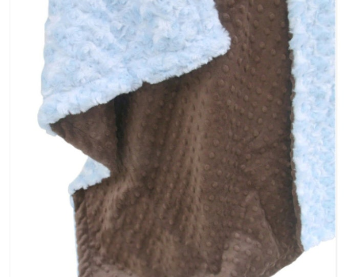 Baby Blue Minky Swirl and Slate gray minky Dot Baby Blanket