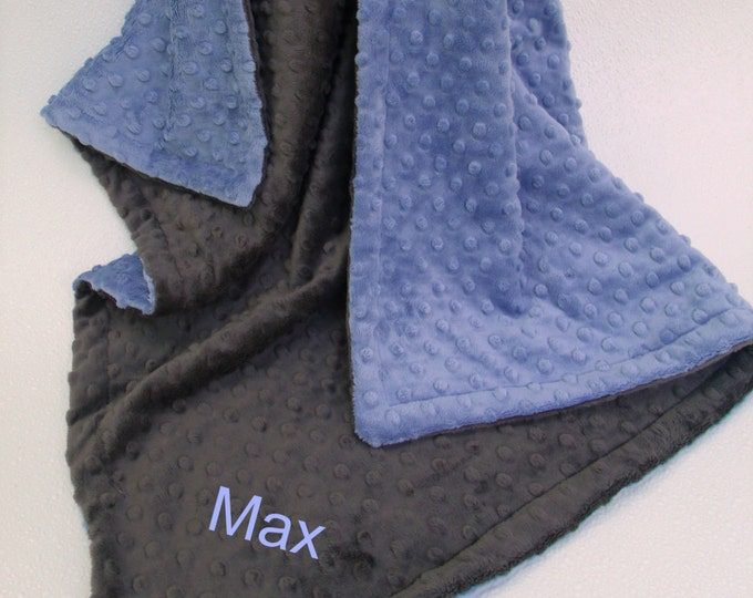 Denim Blue and Slate Gray Dot Minky Baby Blanket for Boy