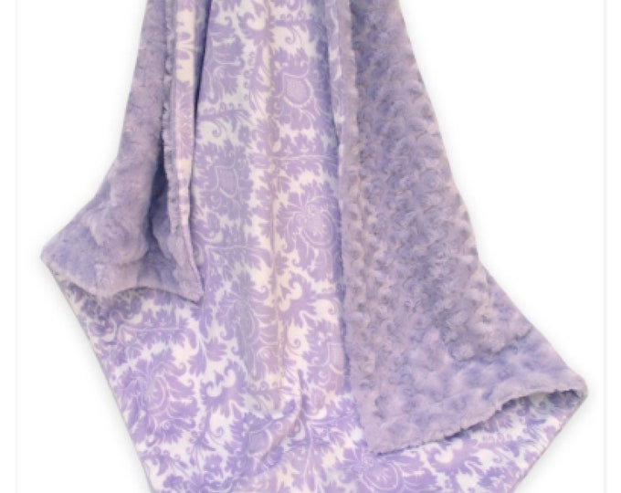 Lavender Damask and Swirl Minky Baby Blanket, Light Purple Damask Minky Blanket,