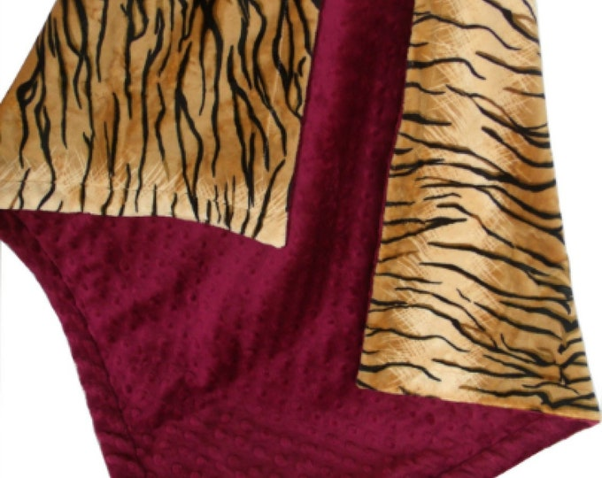 Minky Baby Blanket in Tiger Print with Maroon Burgundy Minky Dot, Three Sizes