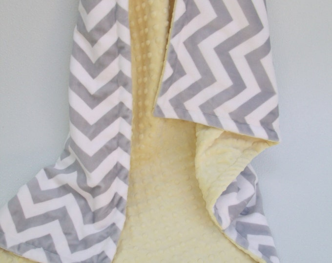Yellow Minky Dot  with Gray Chevron Blanket for baby Toddler or Adult