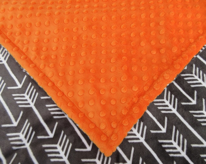 Charcoal Gray Arrow Print and Orange Minky Dot Blanket, In Stock Ready to Ship