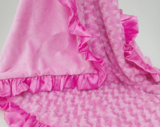 Smooth Bright Pink Minky and Rose Swirl Baby Blanket