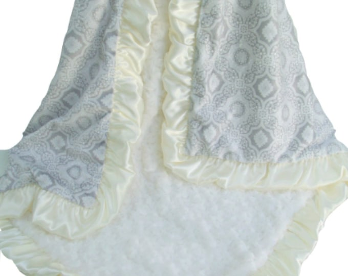 Gray and Charcoal Gray and Cream Printed Minky Blanket with Satin Ruffle, 3 sizes