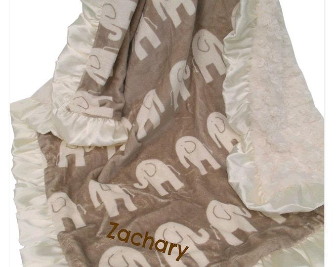 Brown Elephant and Cream Ruffle Minky Baby Blanket, 3 sizes