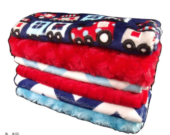 Navy and Red Train Set Baby Burp Cloths, Navy Chevron Baby Burp Burp Rags, Burping Accessories