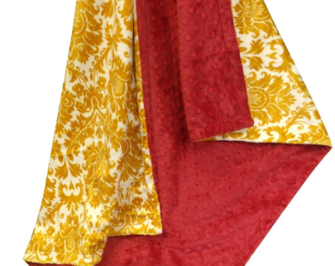 Gold and Red Damask Minky Baby Blanket