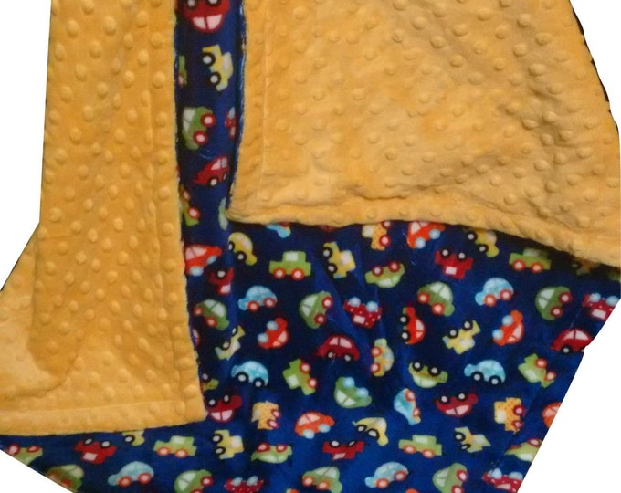 Photo sample One only, Yellow and Navy Cars Minky Baby Blanket, Saffron Yellow Minky  No personaization available