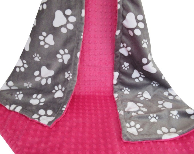 Hot Pink and Gray Paw Print Dog Blanket, New Puppy Gift, In Stock Ready to Ship