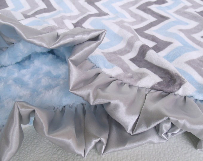 Blue and Gray Chevron Minky Baby Blanket