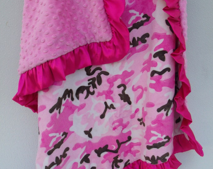 Camouflage Fuchsia Pink Minky Baby Blanket.....three sizes available