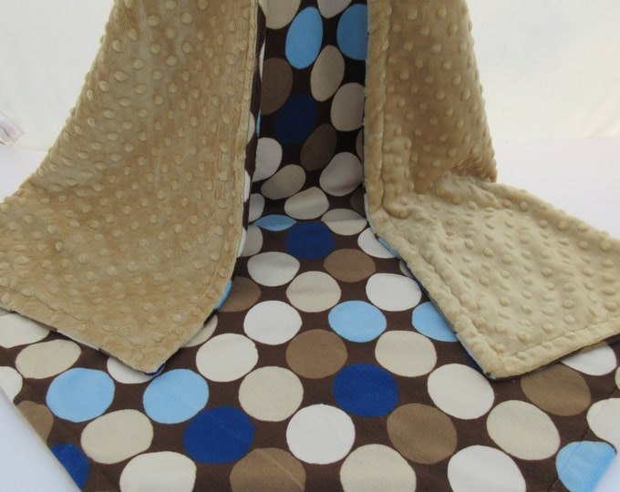 Brown and Blue Large Retro Mod Dots Minky Baby Blanket