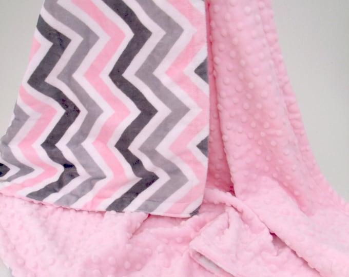 Pink Gray Chevron Minky Blanket
