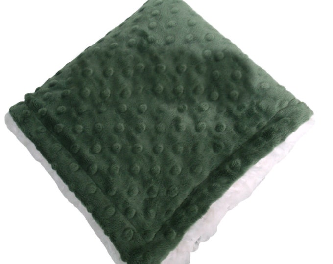 Olive Green Minky Blanket w Cream Swirl for Baby Boy, three sizes