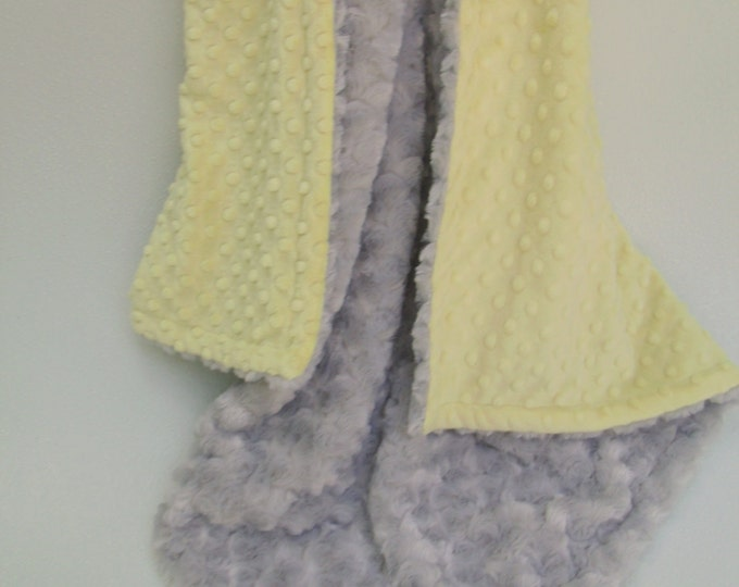Yellow Minky Dot  and Silver Gray Swirl Blanket for baby Toddler or Adult