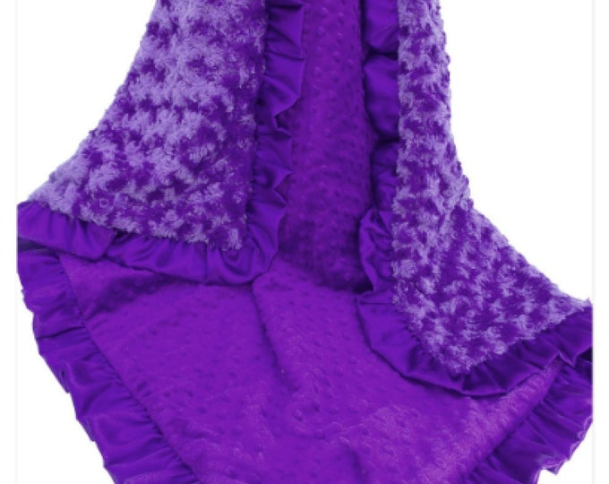 Purple Minky Baby Blanket, Orchid Minky baby Blanket, Rose Swirl and Minky Dot Baby Blanket,