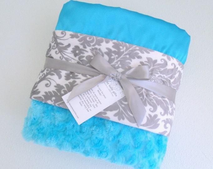 Turquoise Aqua and Gray Damask Minky Baby Blanket