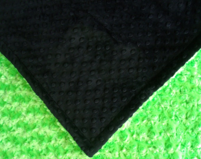 Lime Green and Black Minky Baby Blanket, Kiwi Rose Swirl Baby Blanket in three sizes