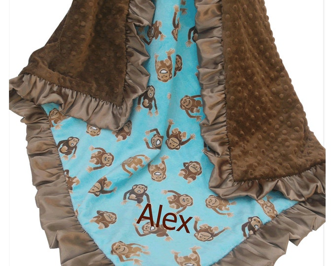 Turquoise Monkey Minky Baby Blanket, Gender Neutral Baby Gift, Monkey Print Baby Blanket, Jungle Print Blanket