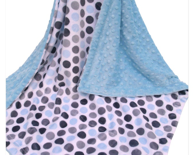 Boy's Mod Blue and Gray Polka Dot Minky Baby Blanket, Blue and Gray Baby Blanket,