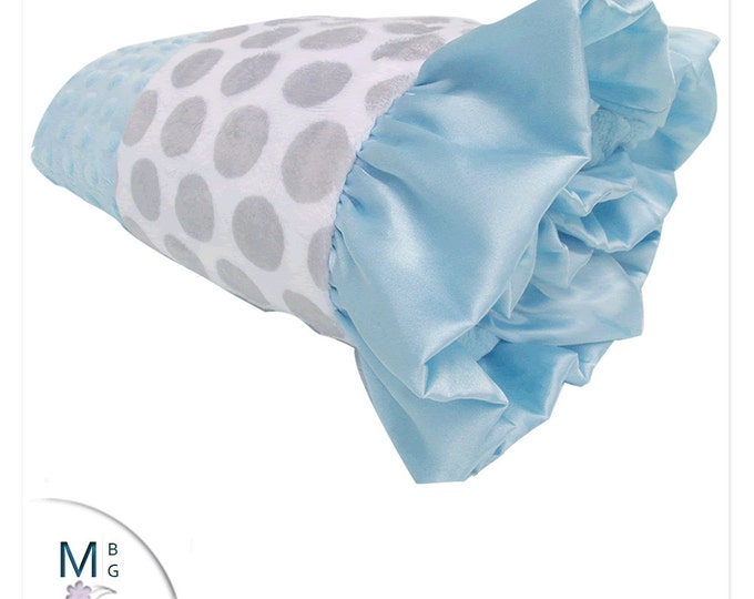Blue and Gray Minky Dot Baby Blanket, Gray polka Dot Minky Baby Blanket, Satin Ruffle,