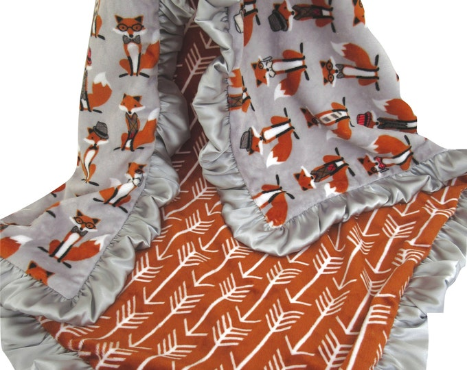 Burnt Orange and Gray Fox Minky Baby Blanket, Orange Arrow Fox Swaddle Blanket
