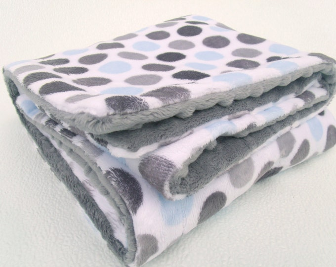 Boy's Mod Blue and Gray Polka Dot Minky Baby Blanket