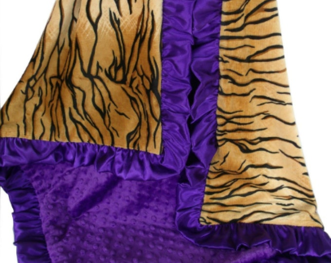 Purple and Gold Minky Baby Blanket Purple Tiger Baby Blanket, Crib Blanket, Baby Blanket, or Lovey choose your size