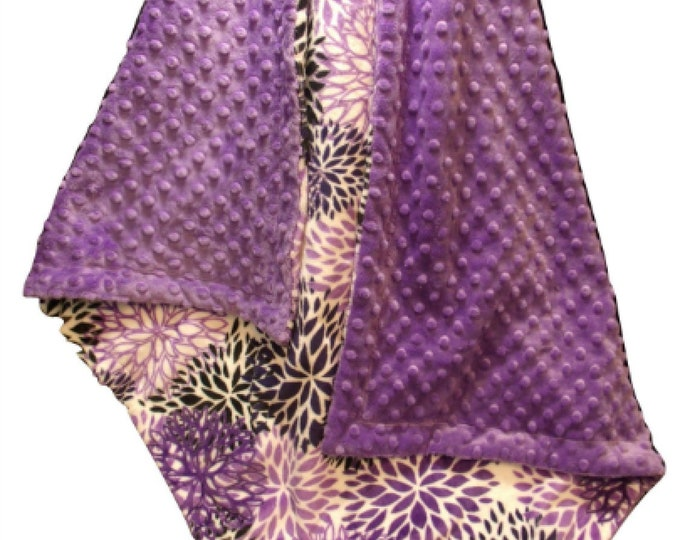 Purple Floral Minky Baby Blanket, Violet baby Girl Gift, Orchid Swaddle Blanket