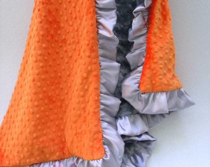 Orange and Charcoal Gray Minky Dot Baby Blanket for Boy or Teen