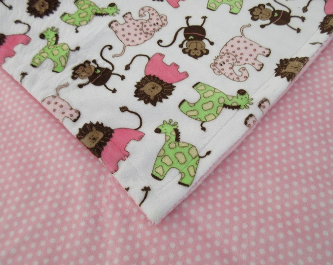 Minky Baby Blanket Pink and Brown Jungle Animals Print for Baby Girl