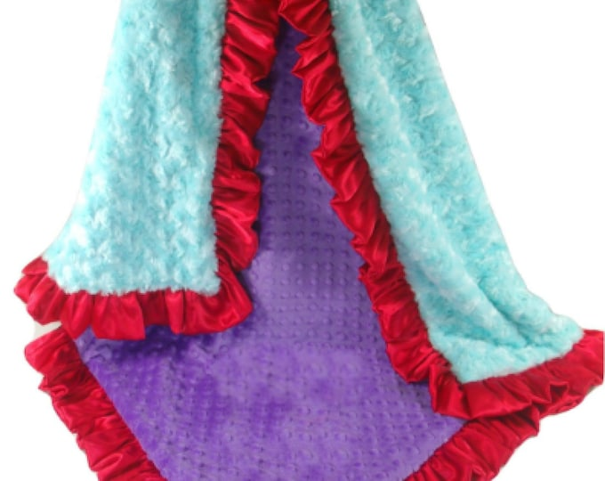 Minky Baby Blanket, Red, Purple and Robin's Egg Blue Minky Baby Blanket, Minky Blanket, Baby Girl Blanket