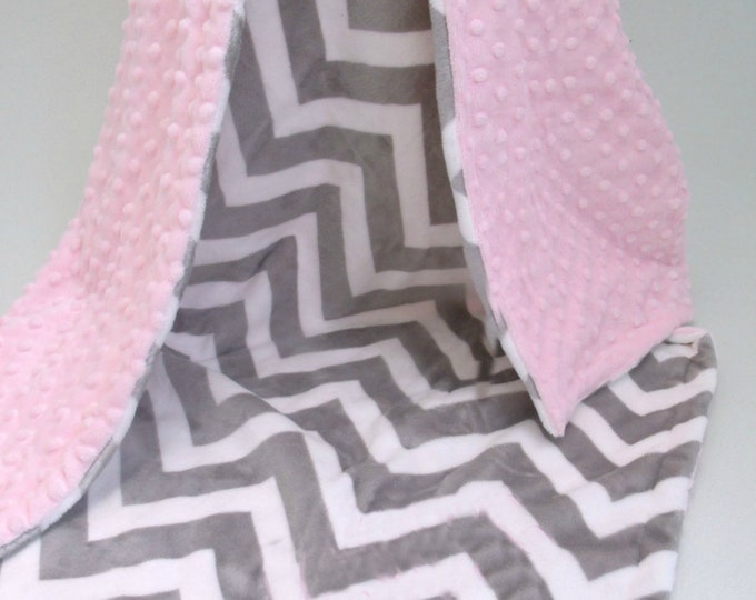 Pink and Gray Chevron Minky Baby Blanket for Girl