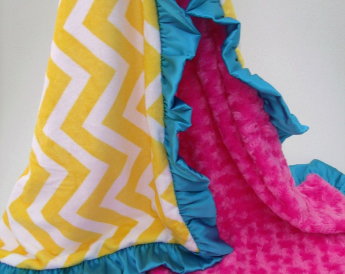 Saffron Yellow Chevron with Aqua and Pink Minky Baby Blanket with Satin Ruffle