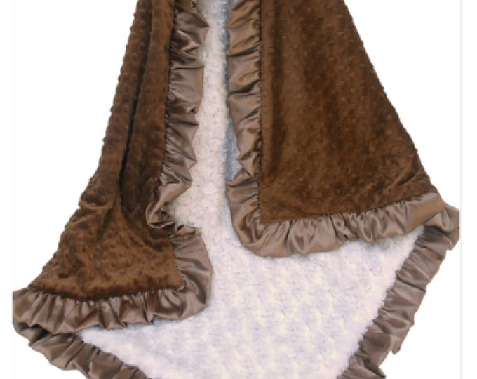 Cream Swirl and Brown Minky Dot Baby Blanket, 3 sizes