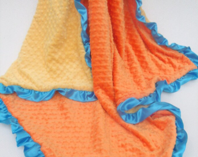 Orange Yellow and Turquoise Minky Baby Blanket