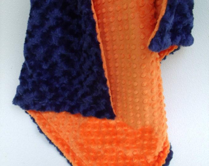 Orange and Navy Swirl Minky Baby Blanket