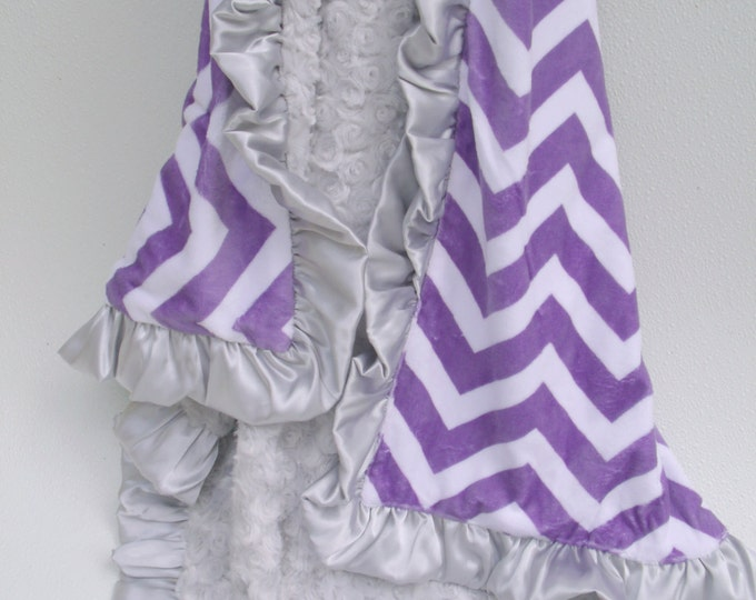 Purple Chevron and Silver Gray Minky Baby Blanket