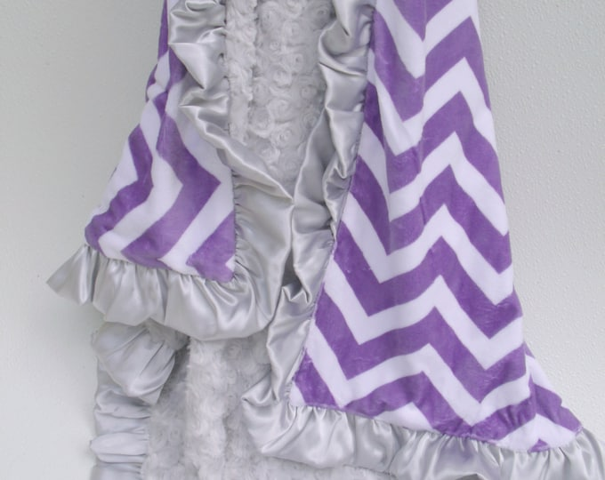 Purple Chevron and Silver Gray Minky Baby Blanket, Baby Girl Blanket