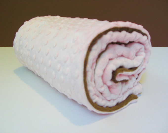 Pink and Brown Minky Baby Blanket for Baby Girl
