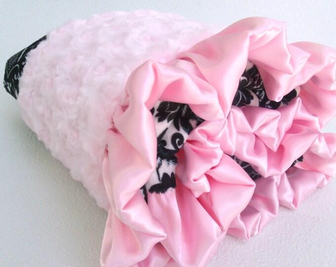 Minky Baby Blanket - Pink and Black Damask Baby Blanket - Pink Rose Swirl Minky Baby Blanket - Baby Girl Blanket