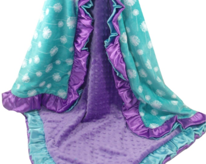 Purple and Teal Dandelion Print Minky Baby Blanket, Double Ruffle, Custom Double Ruffle Blanket, choose your colors, three sizes
