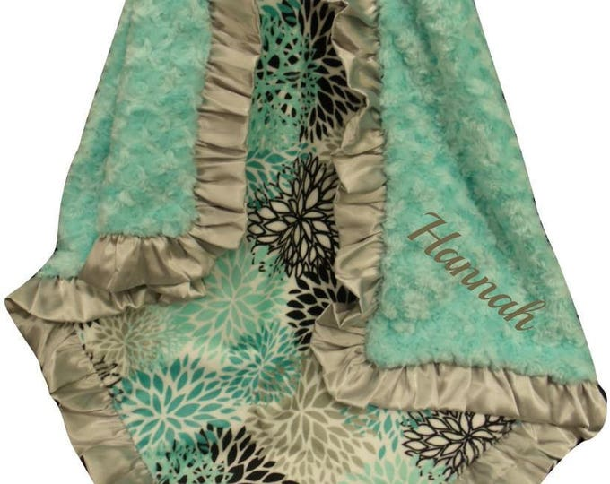 Floral Saltwater and Silver Gray  Minky Baby Blanket, Gray Satin Ruffle Minky Baby Girl Blanket