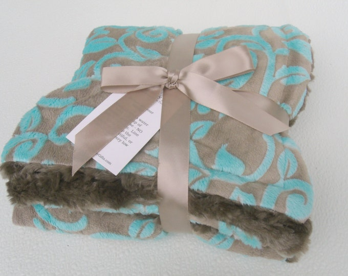 Aqua Vine and Brown Minky Baby Blanket