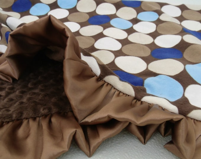 Blue and Brown Retro Dot Minky Blanket for Baby, Teen, or Adult