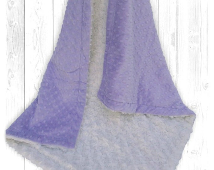 Lavender Minky Dot and Ivory Cream Minky Rosebud Swirl Baby Blanket, Light Purple Minky Dot